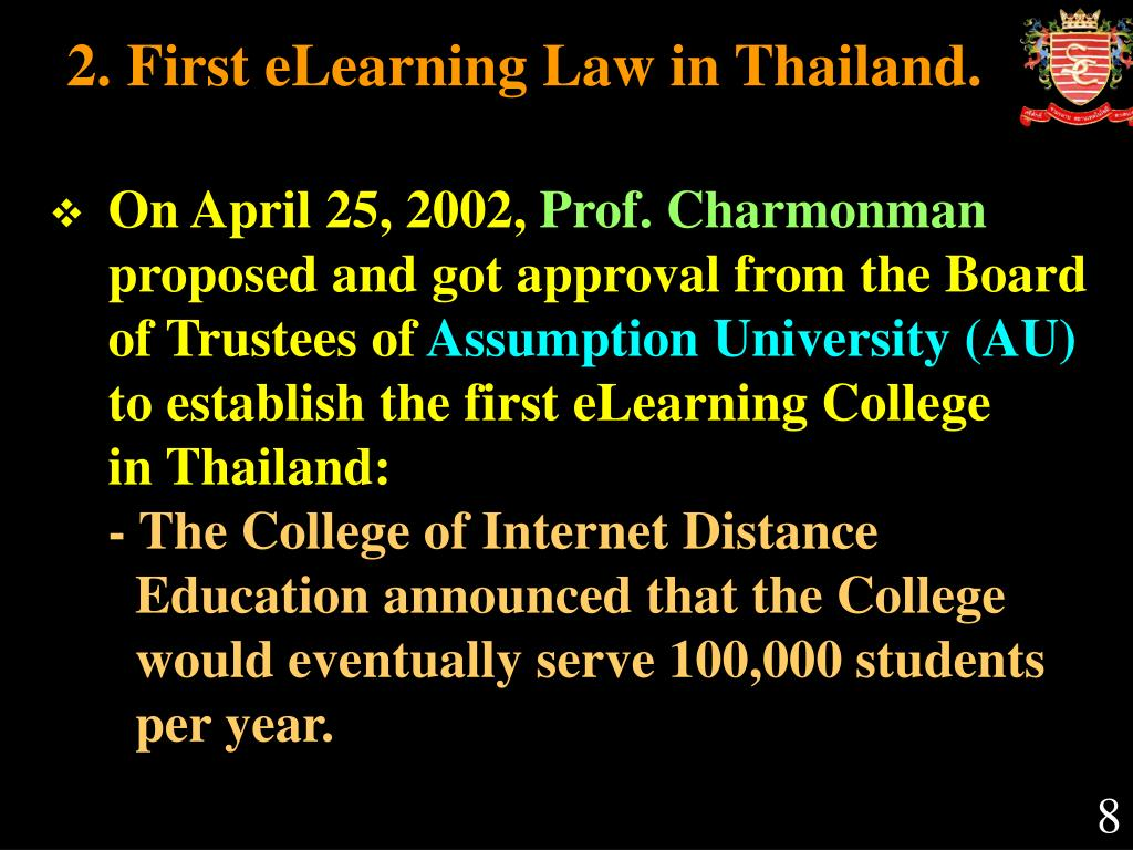 2. First eLearning Law in Thailand.