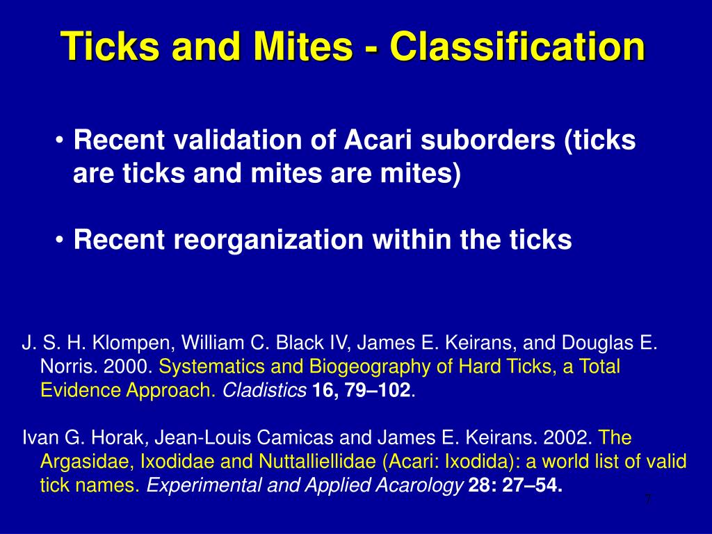 Ticks and Mites - Classification