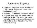 purpose vs exigence