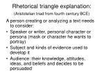 rhetorical triangle explanation aristotelian triad from fourth century bce