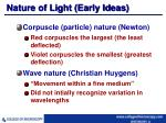 nature of light early ideas