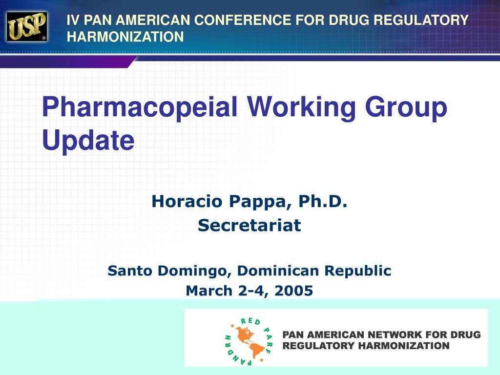 pharmacopeial working group update l.