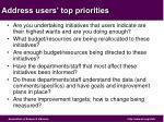 address users top priorities