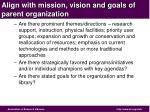align with mission vision and goals of parent organization