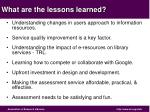 what are the lessons learned