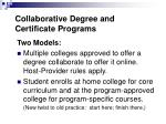 collaborative degree and certificate programs