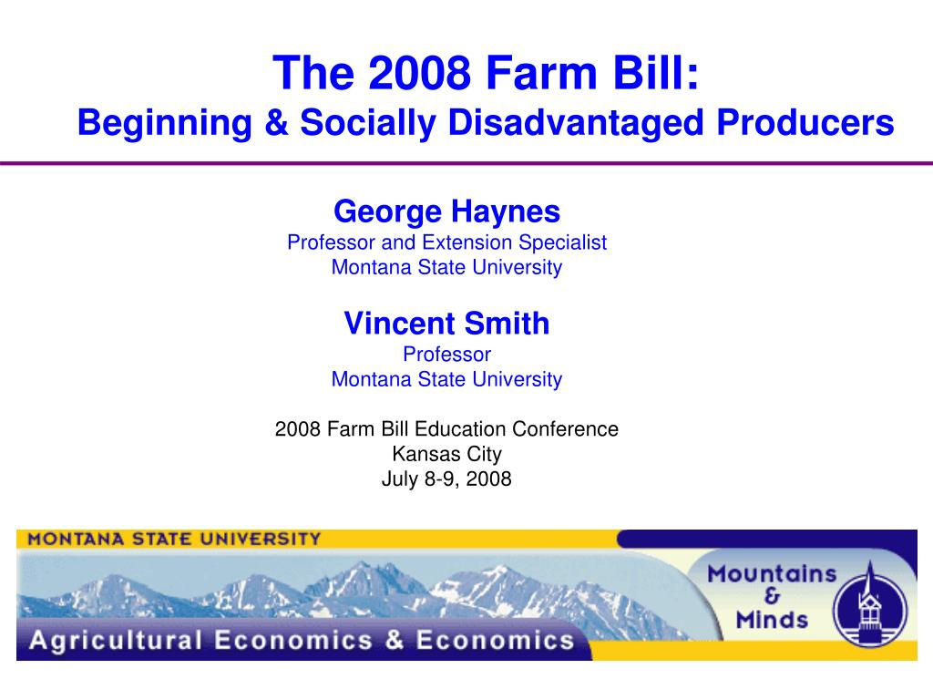the 2008 farm bill beginning socially disadvantaged producers l.
