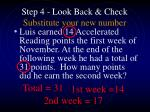 step 4 look back check substitute your new number