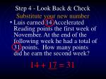 step 4 look back check substitute your new number18