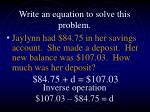 write an equation to solve this problem