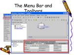 the menu bar and toolbars19