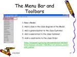 the menu bar and toolbars27