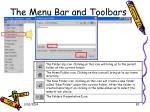 the menu bar and toolbars30