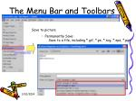 the menu bar and toolbars31