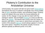 ptolemy s contribution to the aristotelian universe25