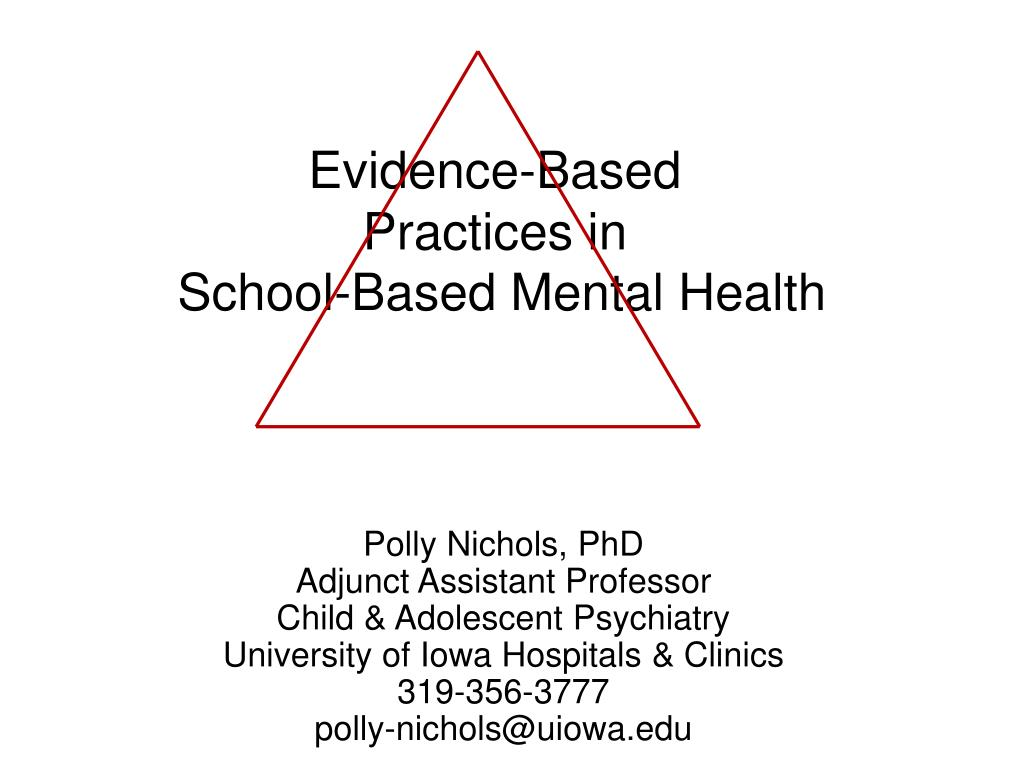 evidence based practices in school based mental health l.