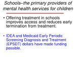 schools the primary providers of mental health services for children25