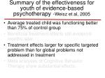 summary of the effectiveness for youth of evidence based psychotherapy weisz et al 2005