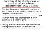 summary of the effectiveness for youth of evidence based psychotherapy weisz et al 200529