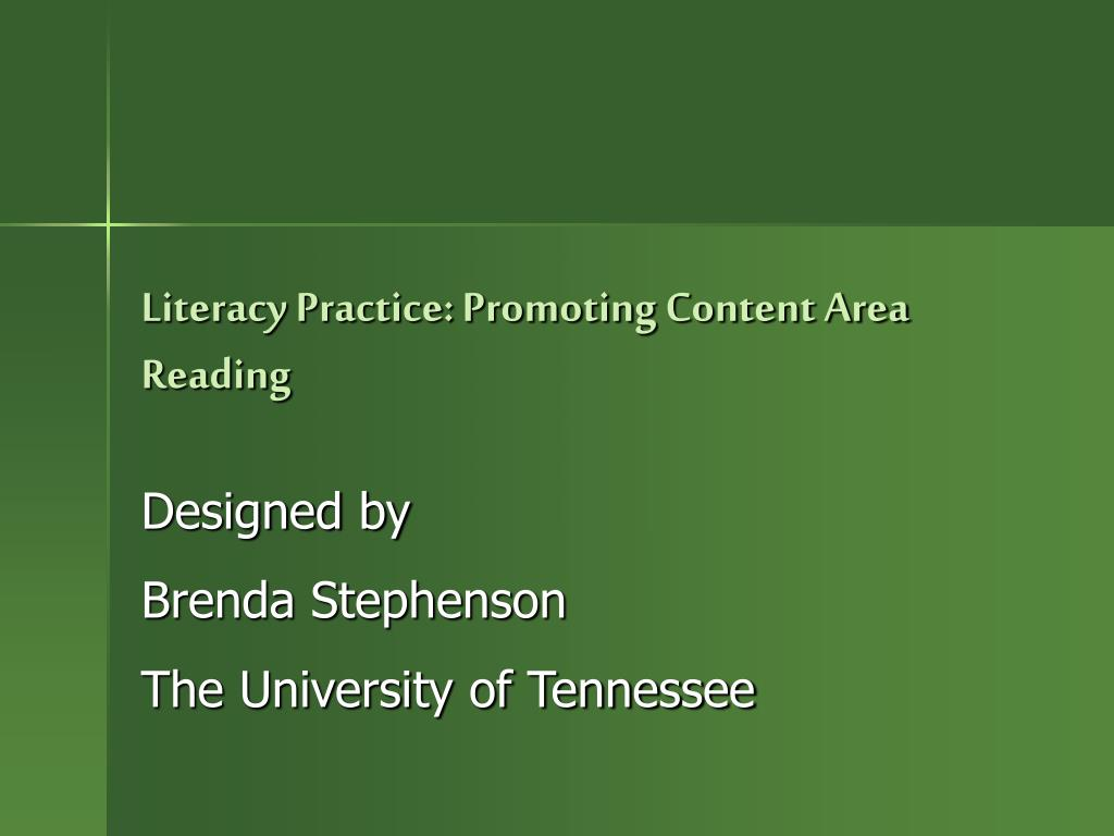 literacy practice promoting content area reading l.