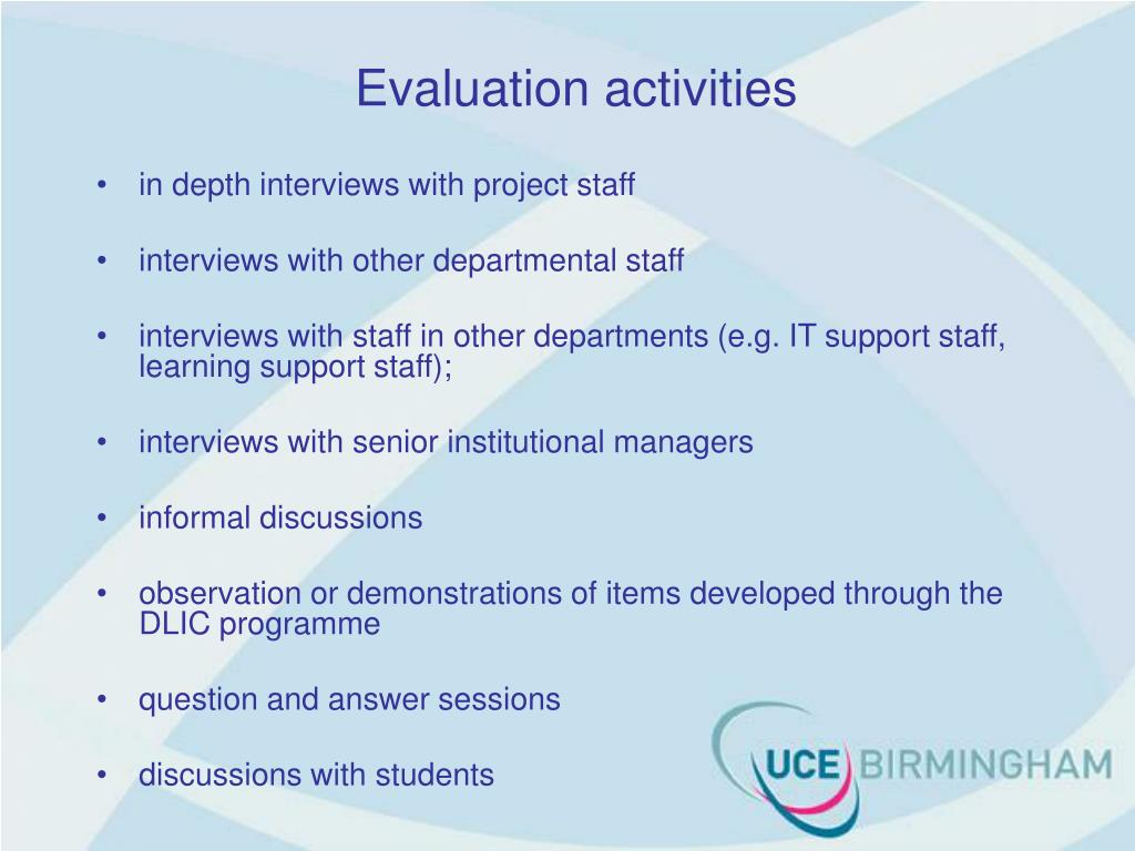 Evaluation activities