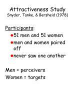 attractiveness study snyder tanke bersheid 197898