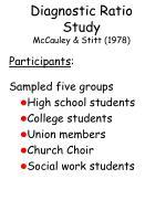 diagnostic ratio study mccauley stitt 197866