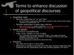terms to enhance discussion of geopolitical discourses