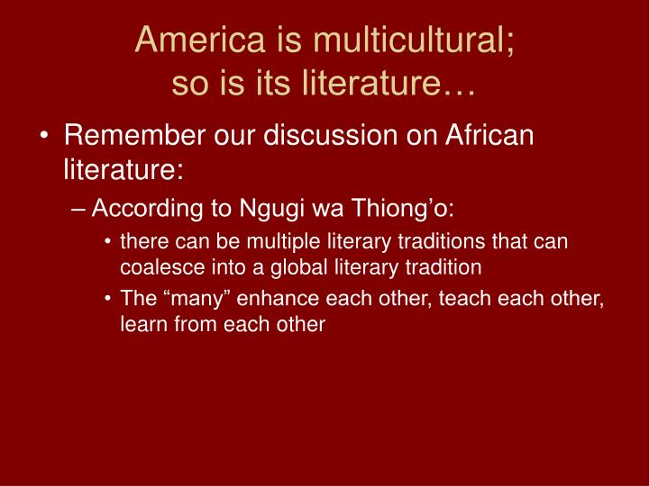 african literature what tradition Themes of colonialism, liberation, nationalism, tradition, displacement and rootlessness in african literature this paper deals with some of the themes in african literature such as colonialism, liberation, nationalism, tradition, displacement and rootlessness first of all, it is necessary to have.
