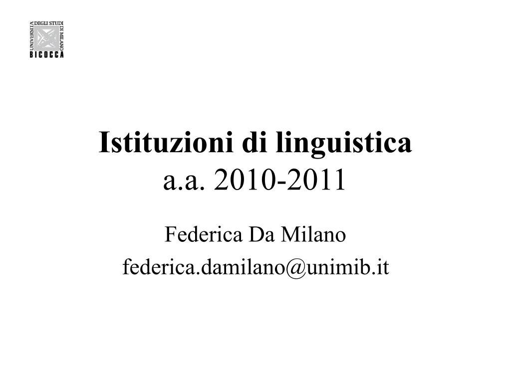 istituzioni di linguistica a a 2010 2011 l.