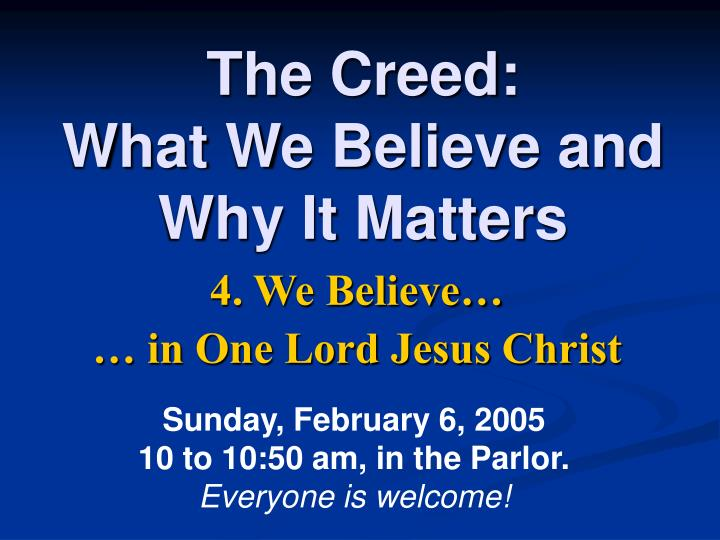 the creed what we believe and why it matters n.