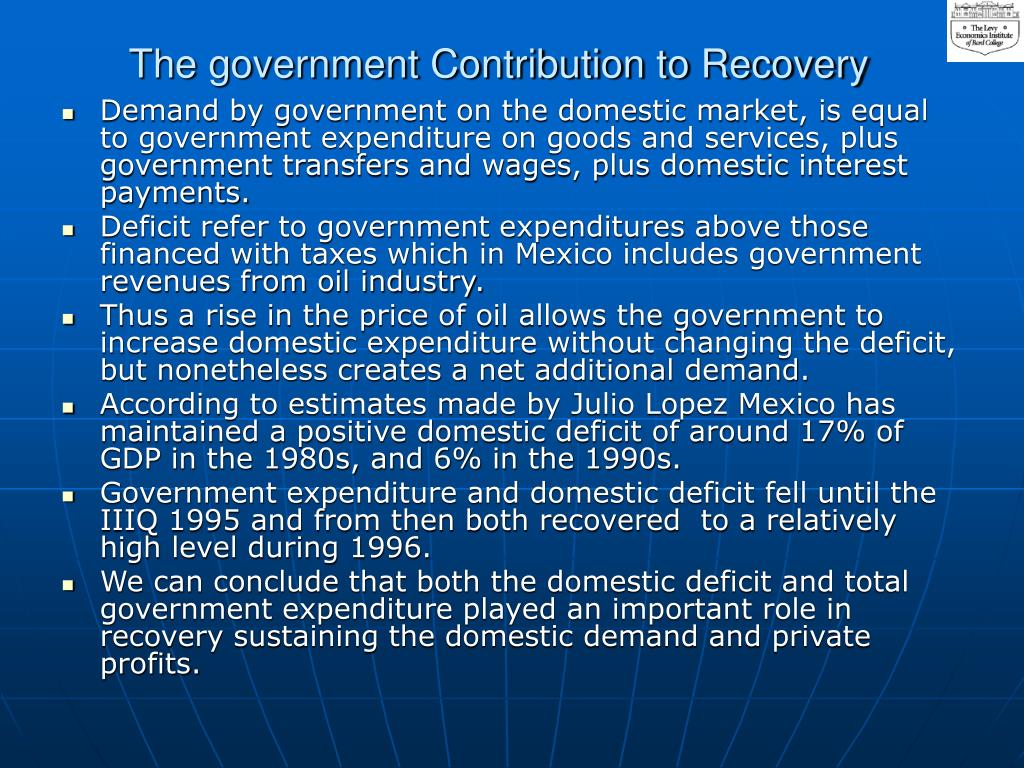 The government Contribution to Recovery