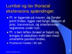lumbal og lav thoracal ekstensions sp ndinger