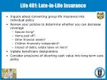 life 401 late in life insurance