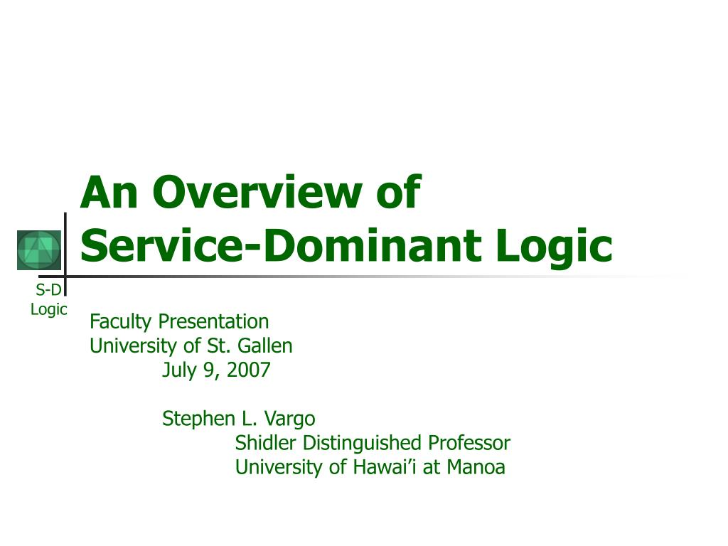 an overview of service dominant logic l.