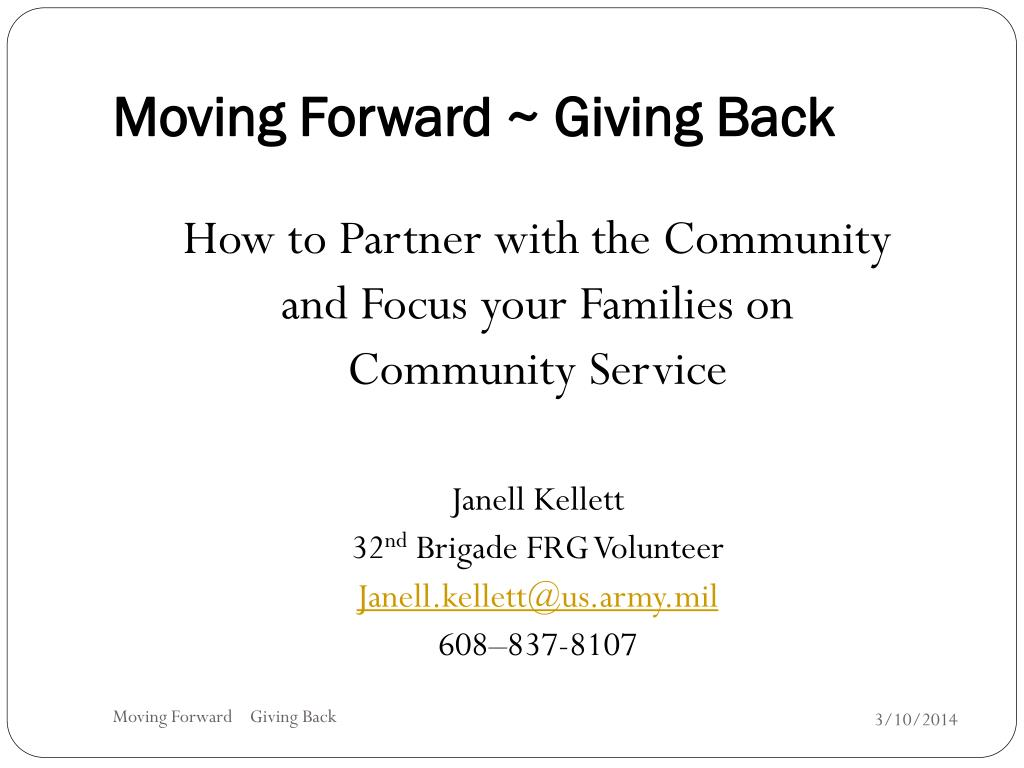 moving forward giving back l.