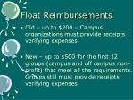 float reimbursements