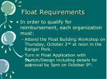 float requirements