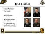 msl classes