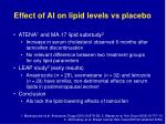 effect of ai on lipid levels vs placebo
