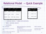 relational model quick example
