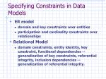 specifying constraints in data models
