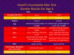 gesell s incomplete man test gender results for age 8