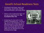 gesell s school readiness tests