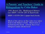 a parents and teachers guide to bilingualism by colin baker
