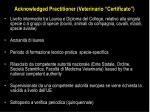 acknowledged practitioner veterinario certificato