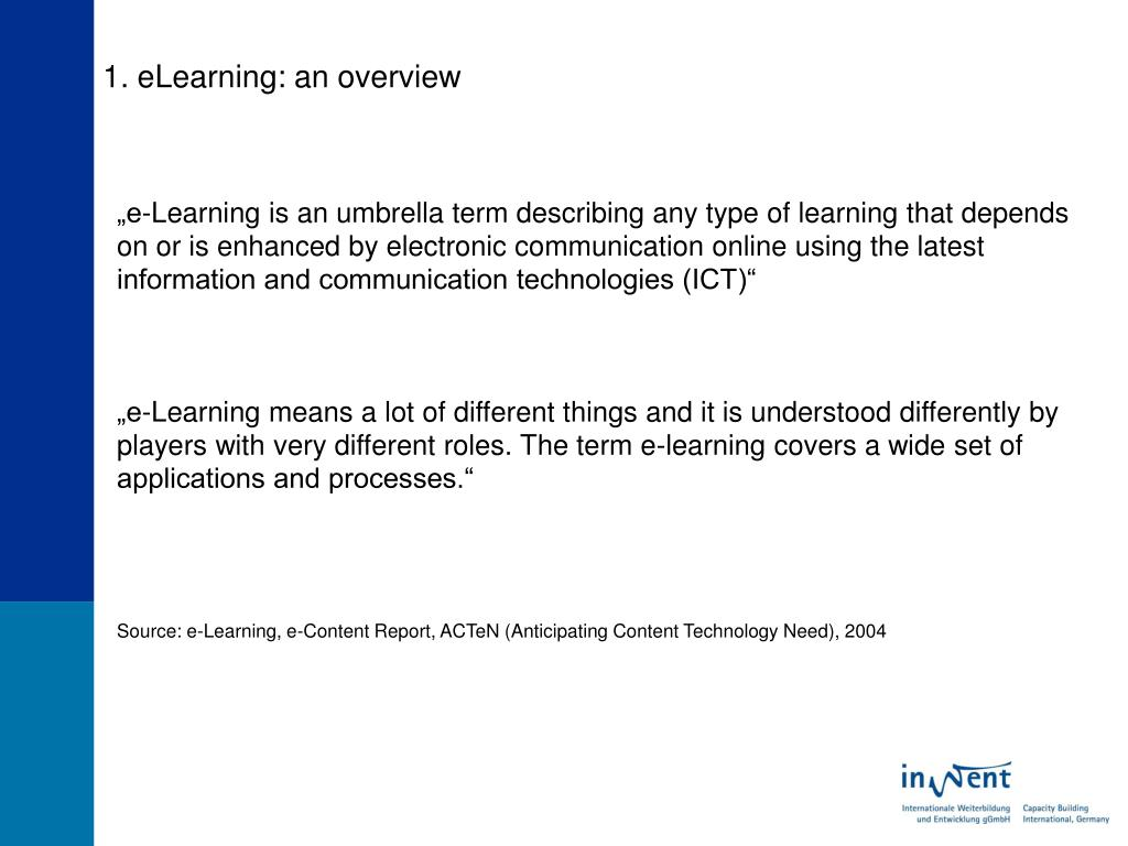 1. eLearning: an overview
