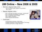 um online new 2008 2009