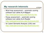 my research interests