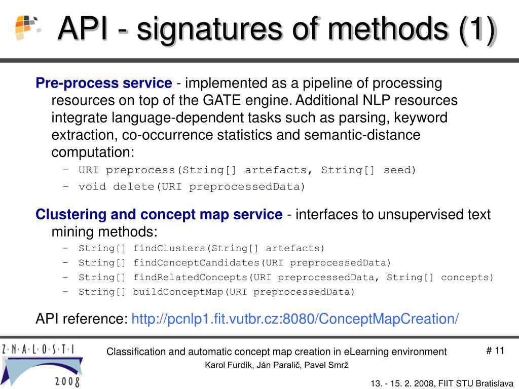 API - signatures of methods (1)